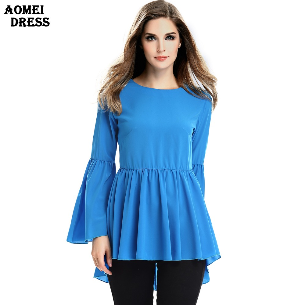 Women Fashion Blue Ruffles Blouse O Neck Ruffles Sleeve ...