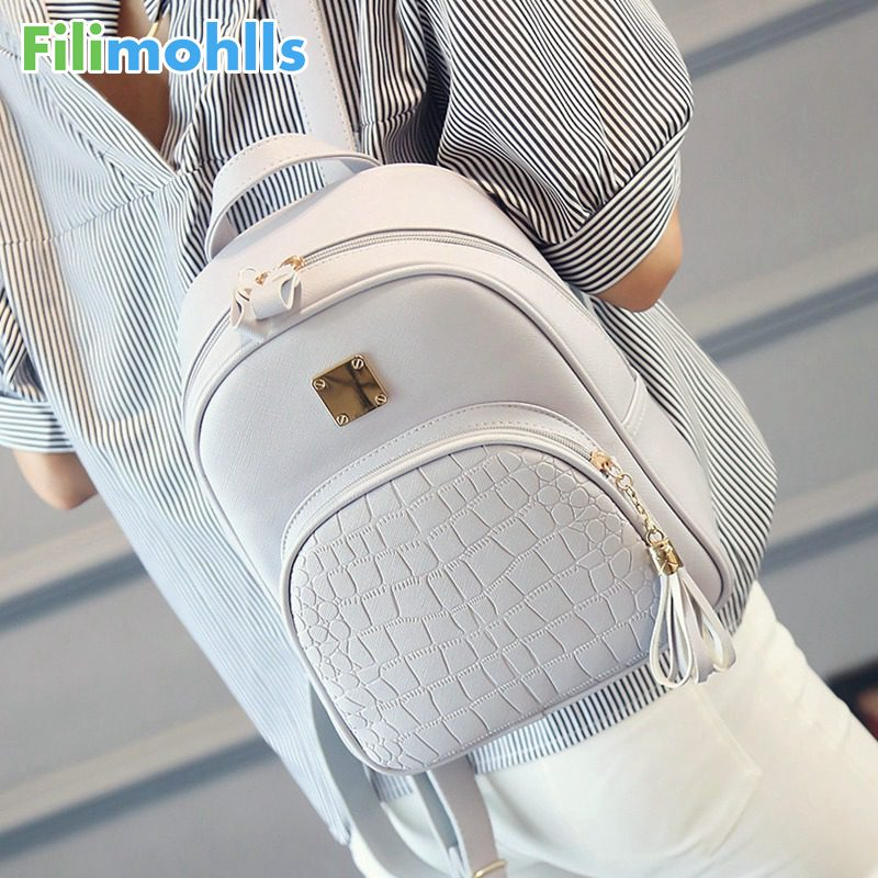 Women Backpack Leather School Bags For Teenager Girls Stone Sequined Female Preppy Style Small Backpack Ladies Travel Bag S1616
