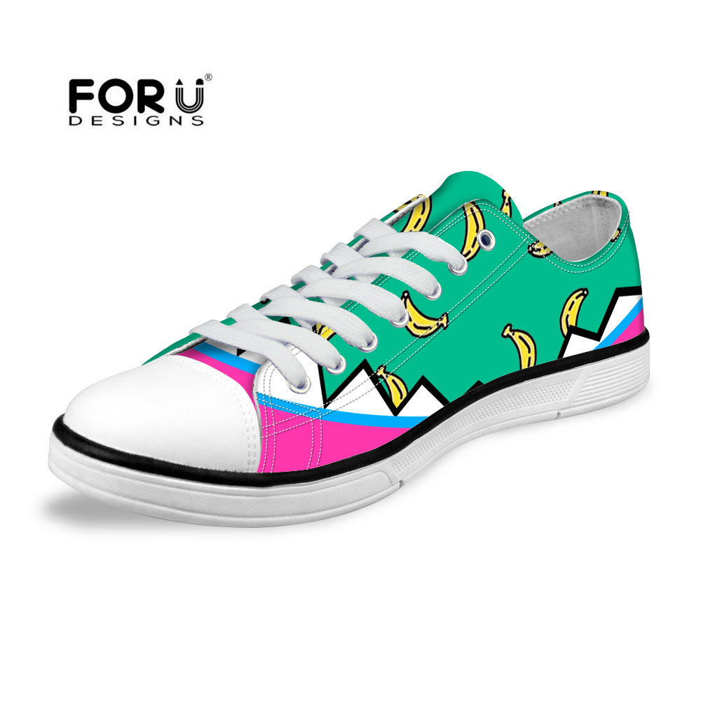 FORUDESIGNS New Woman Flats Shoes,Fruits Print Canvas Shoes for Women,Low Top Summer Casual Shoes High Quality Flat Lace Shoes new touch screen touch glass for delta dop b07s410 touch panel dop b07s410 dopb07s410 freeship 1 year warranty