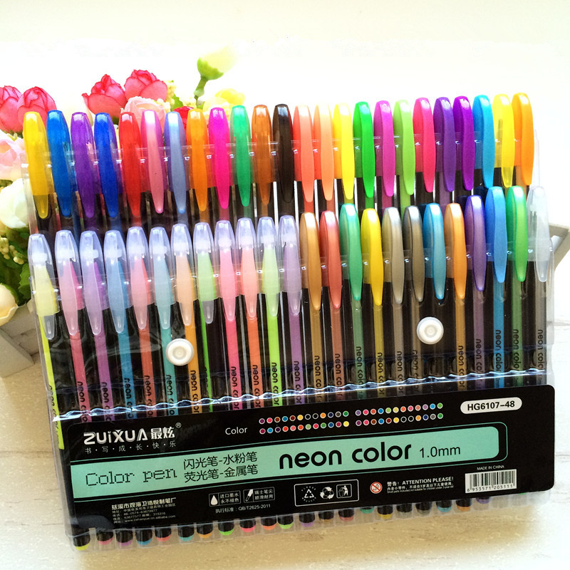 24 36 48 color Gel Pen Set Refills Metallic Pastel Neon Glitter Sketch Drawing Color Pen School Stationery Marker for Kids Gifts