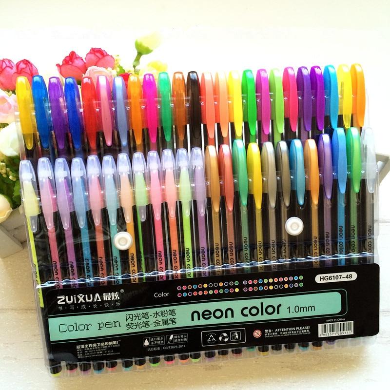 24 36 48 Color Gel Pen Set Refills Metallic Pastel Neon Glitter Sketch Drawing Color Pen School Stationery Marker For Kids Gifts