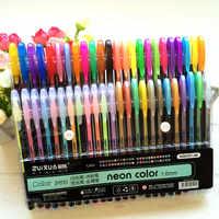 24 36 48 juego de bolígrafos de Gel de colores rellenos metálicos Pastel neón brillo boceto dibujo lápiz de color marcador de papelería escolar para regalos de los niños