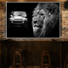 Wall Art Lion Canvas Painting Black and White Car Wild Animals Posters Prints Modern Picture Living Room Cuadros Decor