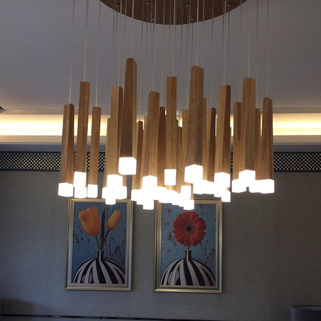Vintage Hanging Pendant Lights Wood Suspension Lighting Fixtures Modern  Lustres De Led Indoor Lighting Home Deco