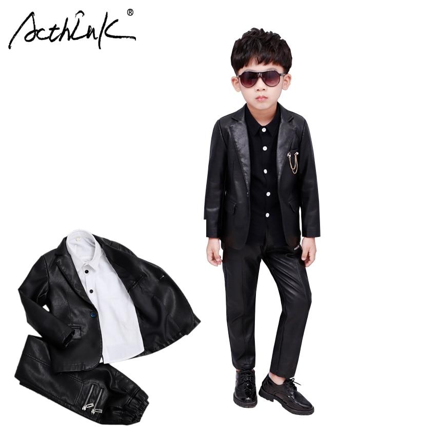 New 2018 Boys Winter PU Leather Jacket Pants Clothing Set Brand 3Pcs Kids Shirts Leather Blazer