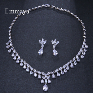 Image 4 - Emmaya Luxury Sparking Brilliant Cubic Zircon Drop Earring Necklace Jewelry Set Wedding Bridal Dress Accessories Party