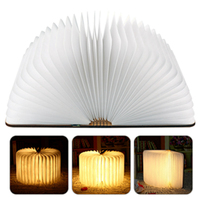 2017 Novelty Wood Turning Night Book Lights USB Rechargeable LED Folding Lamp Creative Fashion Gift Table