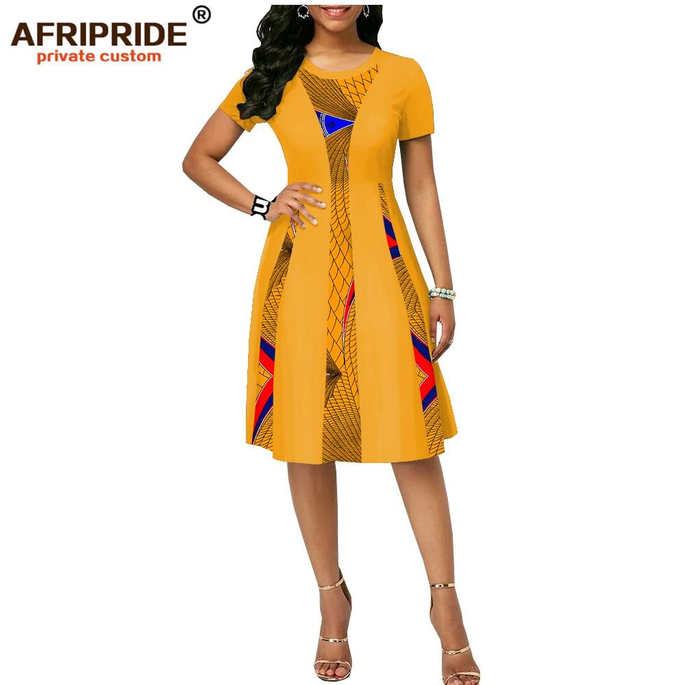 2019 zomer afrikaanse print jurk voor vrouwen AFRIPRIDE tailor made korte mouwen knielengte vrouwen casual wax katoenen jurk A1825087-in Jurken van Dames Kleding op  Groep 1