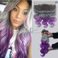 8A Brazilian Soft Virgin Hair Weave 3 Bundles Body Wave With Ear to Ear 13x4 Lace Frontal Closure Grey/Purple Bleached Knots
