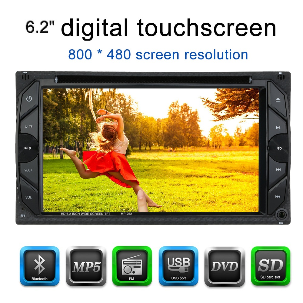 2 Din Car DVD Player 6.2 Universal HD Car Stereo DVD Player BT Radio Entertainment Touch Screen FM Radio USB Port