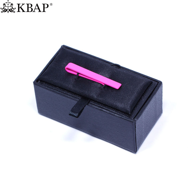 KBAP Mens Fashion Pink Metal Tie Clips Necktie Bar Clamp Neck Tie Clasp Pins Wedding Business Favor Gifts with Small Box