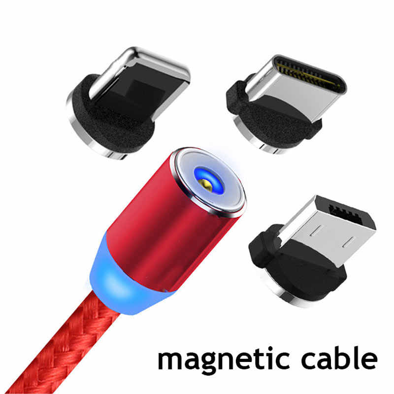 Magnetic Charging Micro USB Cable for iPhone XR Samsung Xiaomi Huawei Mobile Phone QC3.0 Fast Magnet Charger USB-C Type C Cables