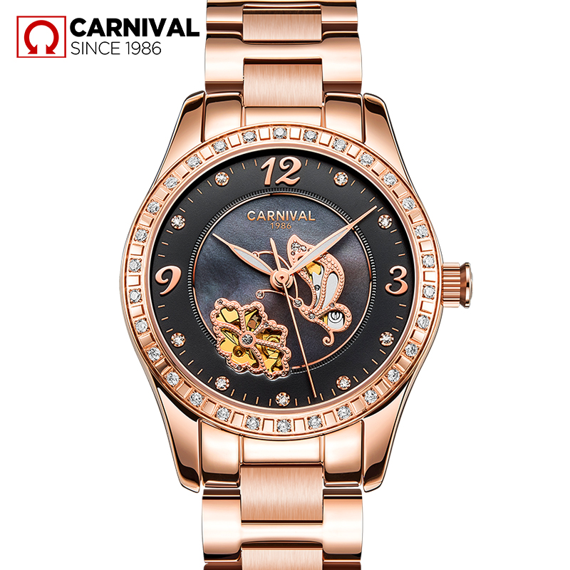 Montre femme CARNIVAL Fashion Women Watches Luxury Tourbillon Mechanical Watch Women HD Luminous Sapphire Waterproof Reloj mujerMontre femme CARNIVAL Fashion Women Watches Luxury Tourbillon Mechanical Watch Women HD Luminous Sapphire Waterproof Reloj mujer