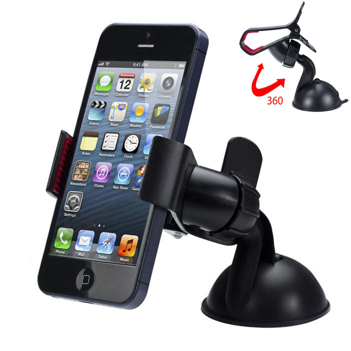 Universal 360 degree Car Windshield Mount Cell Mobile Phone Holder Bracket Stands for iPhone 5 6 Plus Galaxy Note 2 3 S4 S5 GPS multi functional car mount holder for cell phone gps red black
