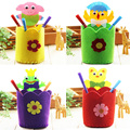 5Pcs/Lot DIY Sewing Pen Holder Children Creativity Handwork Handmake Pasting Toy Cloth Pen Holder Toy Random Color