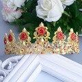 Novo projeto de cristal coroa de noiva europa Retro barroco de luxo banhado a ouro liga de Metal e strass Tiaras RE212