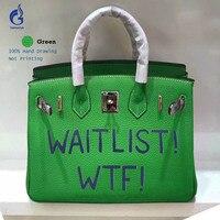 25 см из натуральной кожи сумка известные Брендовая Дизайнерская обувь Для женщин сумки граффити письмо печать Того кожаная сумка Повседнев