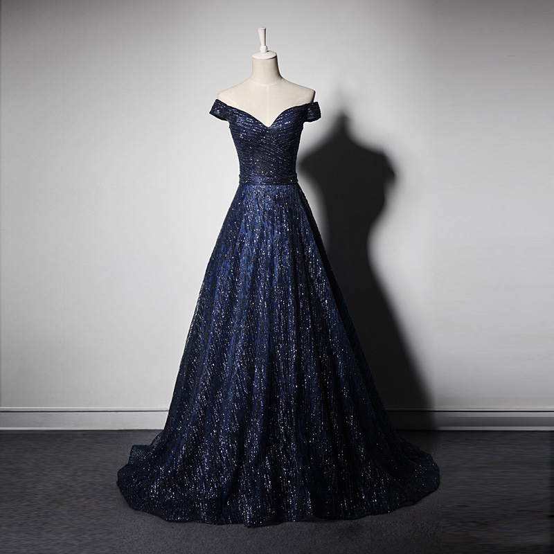 Vintage Boat Neck Long Evening Dress Sheer Short Cap Sleeves Elegant Small Train Navy Blue Prom Dresses New