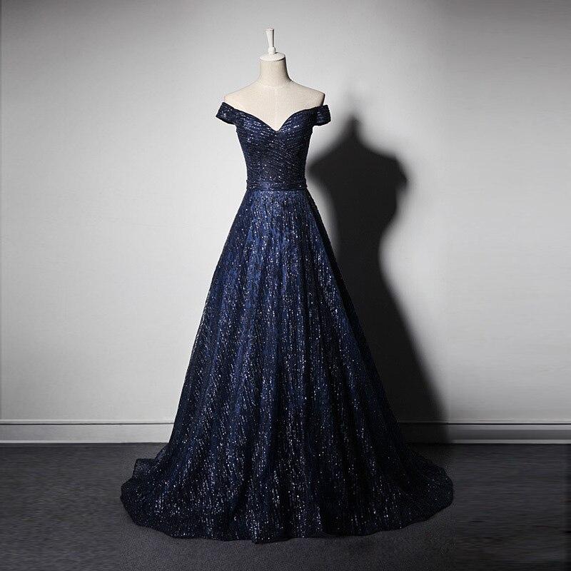 Vintage bateau cou longue robe de soirée pure courte Cap manches élégant petit Train bleu marine robes de bal nouveau