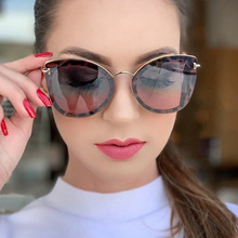 MARC 2019 New Brand Designer Cat eye Sunglasses Women Vintage Metal Gradient Ocean lens Glasses For Retro UV400