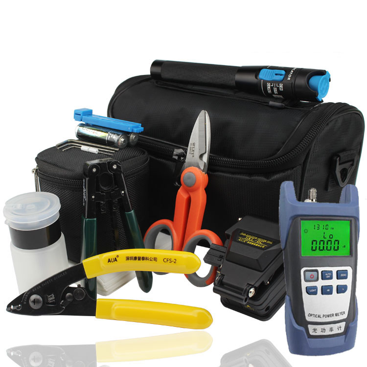 18 In 1 FTTH Fiber Optic Splice Tool Kit with Optical Power Meter and 10MW Visual