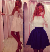 2017 Hot Sales Spring Summer Ukraine Styles Women Lace Party Dresses Blue White Long Sleeve Casual Patchwork Dress Have Stock