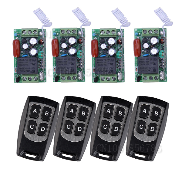 220V 1CH 10A RF Wireless Remote Control Switch System Learning Code With 4transmitter & 4 receiver output state is adjusted ac 220v 1channel 10a rf wireless remote control switch system 4 receiver