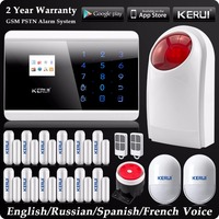 Kerui Wireless Wired SMS GSM PSTN Dual NetWork Home Alarm System Russian Spanish French Voice Wireless