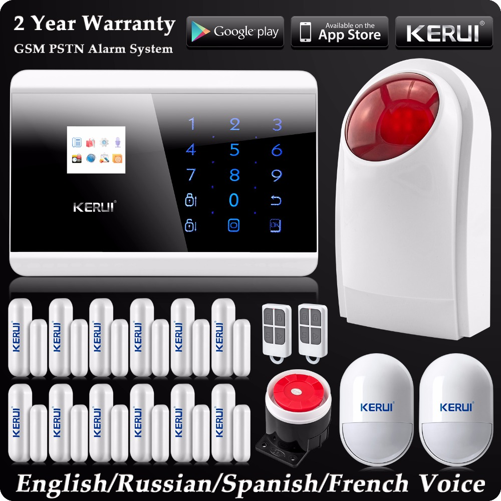 Kerui Wireless Wired SMS GSM PSTN Dual-network Home Alarm System Russian/Spanish/French Voice Wireless Flash Outdoor Siren yobangsecurity home gsm pstn alarm system 433mhz voice prompt lcd keyboard wireless alarma gsm with outdoor siren flash