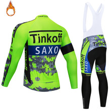 Cycling jersey 2018 tinkoff winter thermal fleece cycling clothing bib pants set Ropa ciclismo invierno bicycle bike jersey