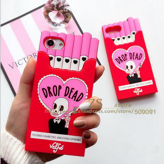 3D Cartoon Skull Back Cover For Iphone 8 7 6 Plus 5 Soft Silicone Smoking Bat French Fries Cigarette Iphone 7 6 8 5 X