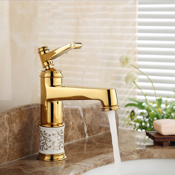 Bathroom Basin Faucet Golden Mixer with Porcelain Ceramic Single Handle Deck Mounte Torneira Banheiro Sink Faucet  G1090