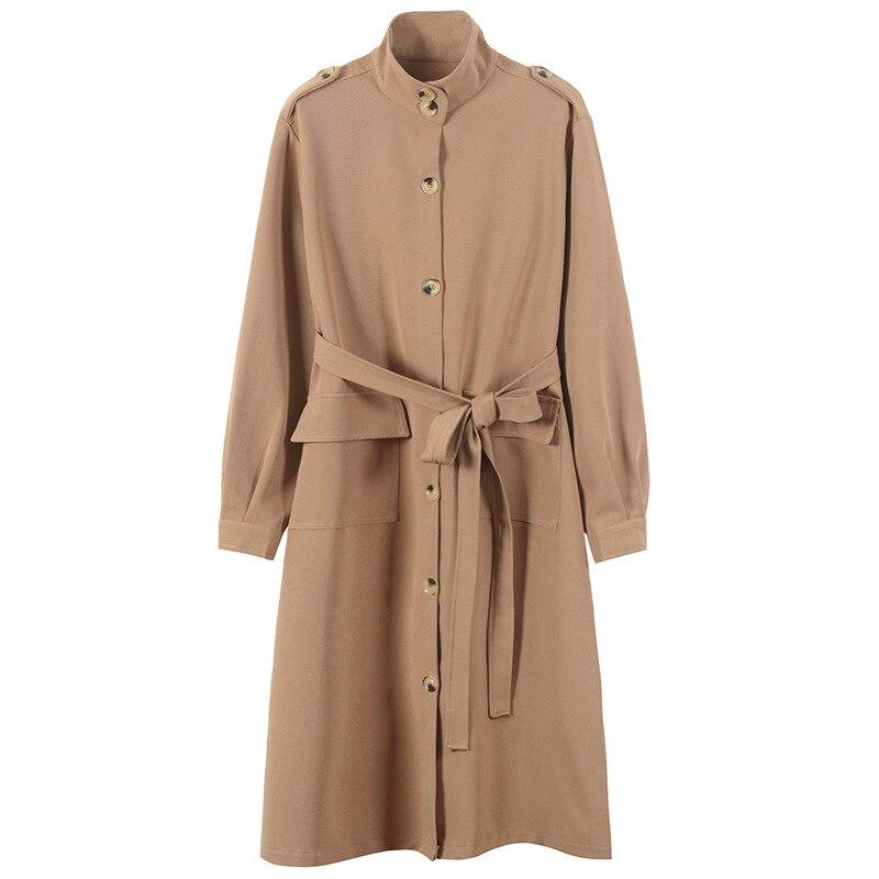Des Trench Tranchée Hiver Coat trench Femmes Fomolayime Haute Coat Longue Manteaux Ceintures Solide Avec Automne 2018 Couture PnOWaUHO