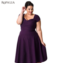 ROPALIA летнее женское платье элегантный Винтаж одноцветное фиолетовый и черный до колена Длина Вечеринка Платья для женщин