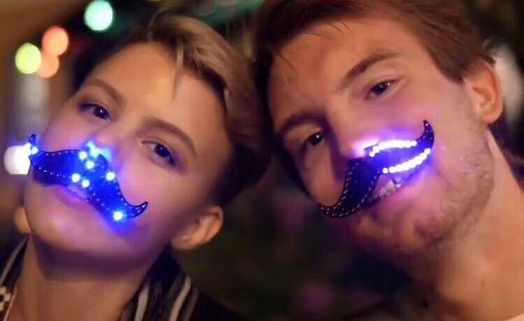 Holiday Lighting LED Beard Modeling Mask Halloween Christmas Sexy Beard Personality Discoloration Mask For Party Christmas