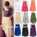 Nueva moda mujeres gasa plisada asimétrica falda Irregular swallowtail faldas 18 colores liberan el envío