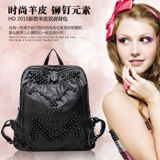 Sac newhotstacy 111416 femmes nouveau sac à dos en cuir véritable mode double sac à bandoulière - 5