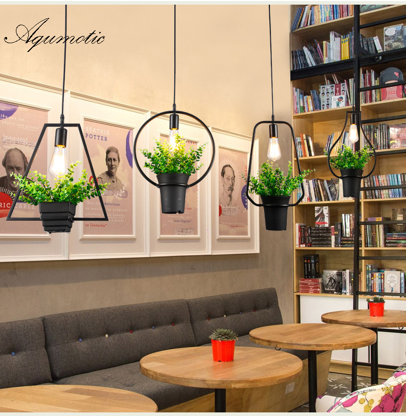 Купить с кэшбэком Aqumotic Farmhouse Hanging Chandelier Holder 1piece Green Plant Lampshade Art Creative Metallic Lampshade Modern Chandelier