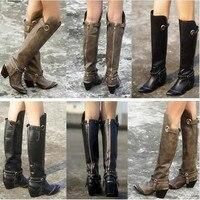 Choudory/Одежда высшего качества молния сзади ботинки из натуральной кожи Пикантные сапоги до колена с острым носком мотоботы ковбойские ботин