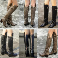Choudory Top Quality Back Zip Genuine Leather Boots Sexy Point Toe Knee High Boots Motorcycle Boots Cowboy Boots Shoes Woman