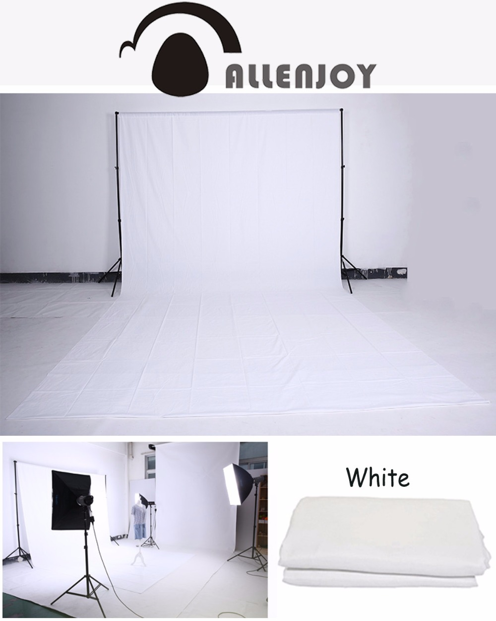 Allenjoy Hromakey Green Screen Background Chromakey Muslin Backdrop For Video Customized Size Professional Photo Lighting Studio