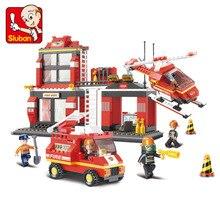 Sluban Blocos de Construção 0225 Brinquedos Para As Crianças Da Cidade Estação de Incêndio do Edifício Blocos DIY Brinquedos Modelo Blocos Bloco de Bombeiro Presentes