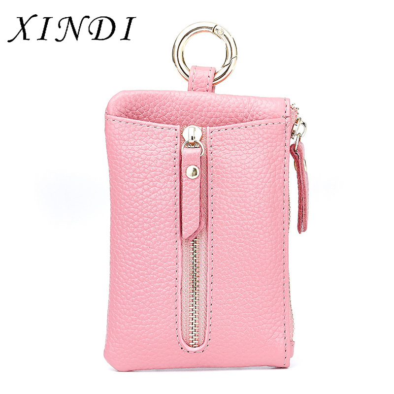 2017 new leather key case small purse multifunctional key leather bag card pack Key Hold ...