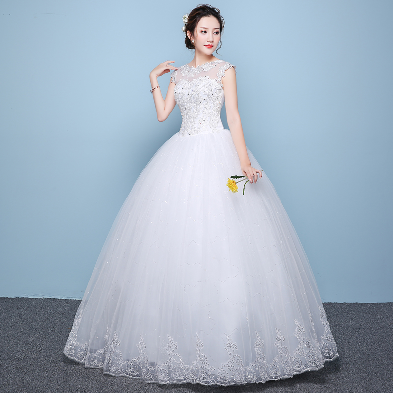 Lamya 2018 Cheap Customized Wedding Dresses Princess Lace Neck ...