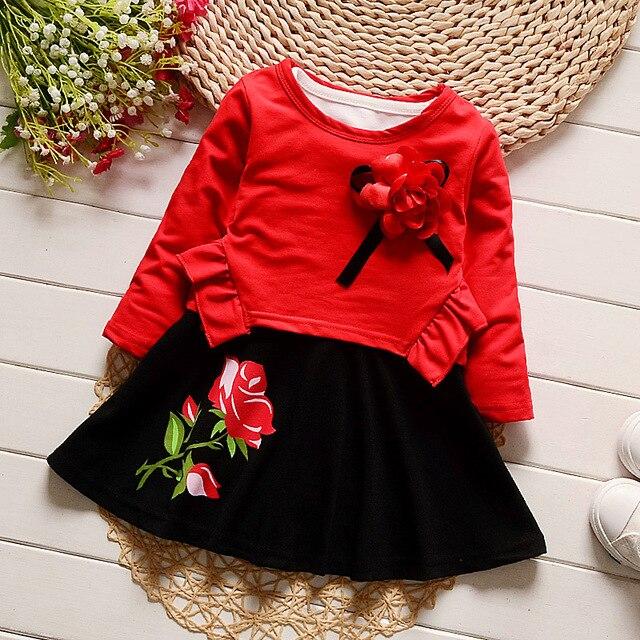 IAiRAY симпатичные red dress baby с длинным рукавом весна осень dress flower girl платья подарки ко дню рождения детей одежда девочек dress set