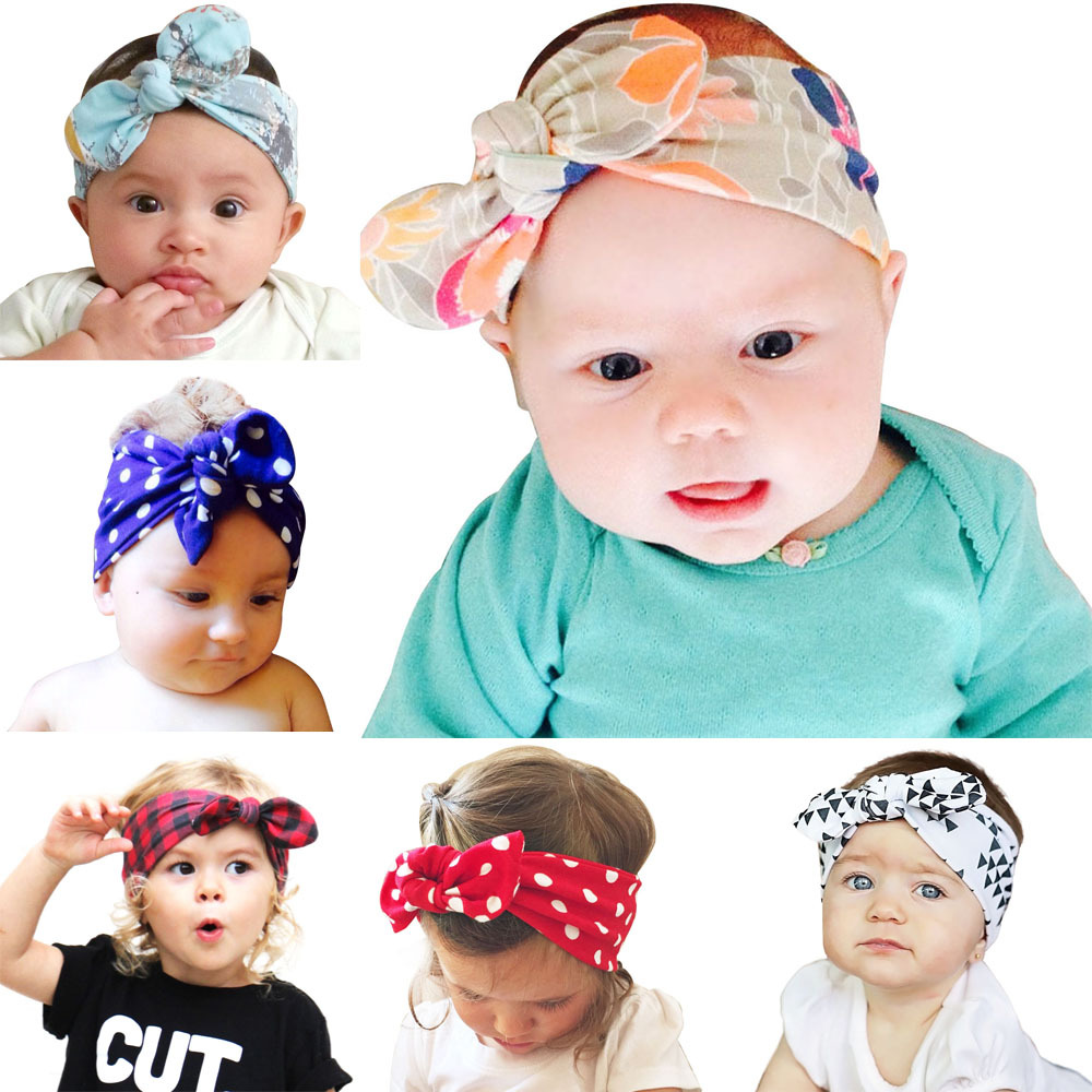 2018 New ON SALE Baby Grils Rabbit Ear Knot Headband Kids Infant Turban Knotted Tie Dots Hair Accessories Children Headwear popular in europe and america children wear hair knotted cotton big bow tie children hair baby hair headband