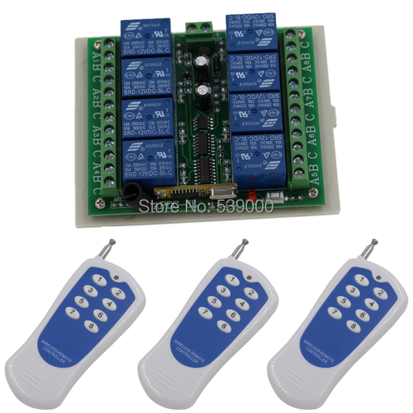 цены DC 12V 10A Wireless 8 Channel Light Remote Control Switch+Transmitter RF 433MHz Remote Controller