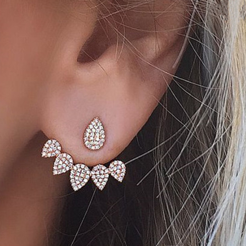 Drop Crystals Stud Earring For Women Gold Color Double