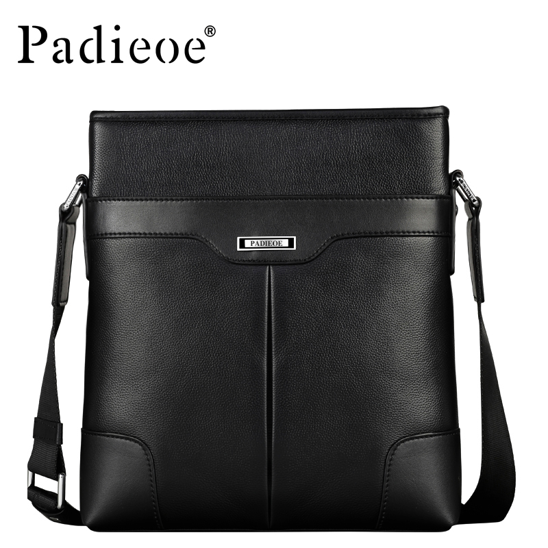 Padieoe Fashion Men Bag Genuine Leather Business Male Shoulder Bag Brand Mens Messenger Bags