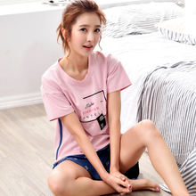 Pezmoj New Arrival Women's Pure cotton pajamas set NP0048I-F 2017 summer pyjamas short sleeve pijamas set